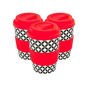 Reusable Coffee Cups - Bamboo Fibre Travel Mugs with Silicone Lid, Sleeve - 350ml (12oz) - Circles - Red - Pack of 3