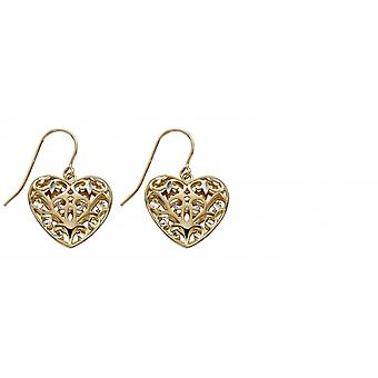 Elements Gold 9ct Yellow Gold Fillgree Heart Earrings GE2315