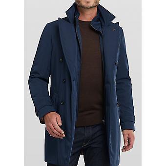 Dex Navy Double-Breasted Overcoat