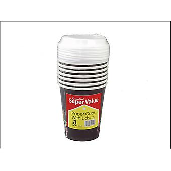 Essential Hot Cups + lids 8oz x 8 VCHL08