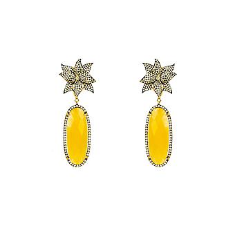 Earrings Lotus Flower Gemstone Citrine Oval Round Yellow Gold Drop Statement