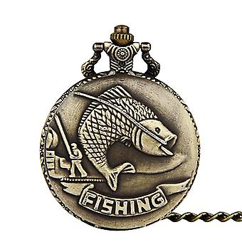 DEFFRUN Big Carp Fishing Quartz Watch Pocket Watch