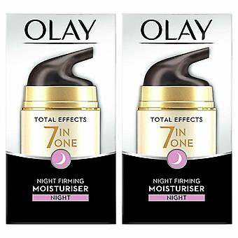 Olay Total Effects 7 In One Anti-Ageing Moisturiser, Night Firming Cream, 50ml 2Pack