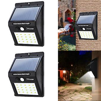 2pack Waterproof 20 Led Solar Power Motion Sensor Wall Security Light