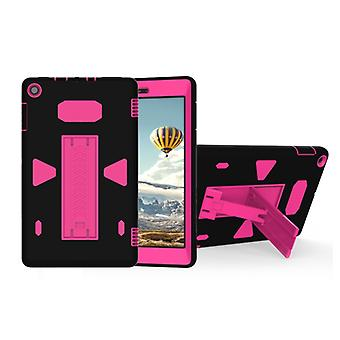 For Amazon Kindle Fire HD 8 2017 PC+Silicone Shockproof Protective Back Cover Case With Holder (Magenta + Black)