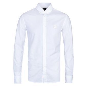 BOSS Mabsoot Cotton Long Sleeve White Shirt