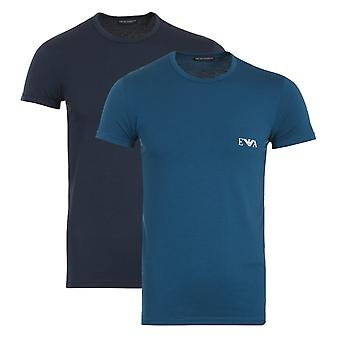 Emporio Armani 2 Pack Sustainable Crew Neck T-Shirt - Marine & Opal