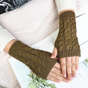 New Women Men Twist Crochet Knitted Fingerless Gloves Short Arm Sleeve Hand