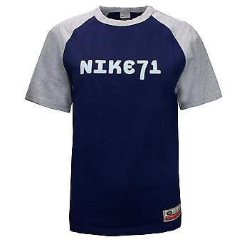 Nike Mens 71 T-Shirt Graphic Logo Colorblock Top Navy Grey 164733 410