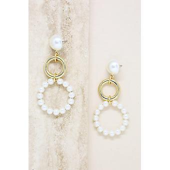 Circulaire Pearl Drop 18k Gold Plated Bungelen Oorbellen
