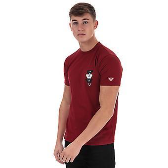 Menn's Armani Emoji Logo T-skjorte i rødt