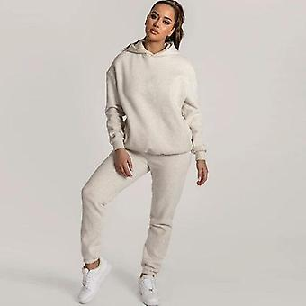 Fleece Lined Long Sleeve Pullovers Sweatpants And Hoodie