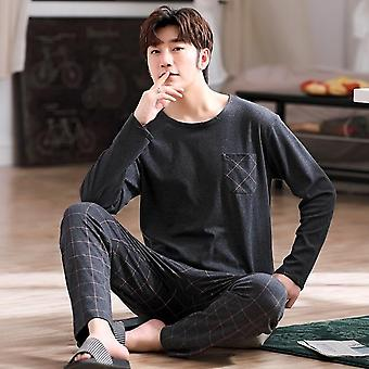 Male Sleepwear Long Sleeve Cotton Home Clothes
