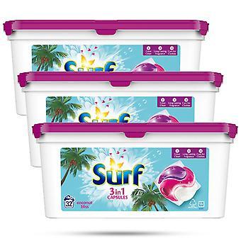 3x di 32 lavaggi Surf Coconut Bliss 3in1 Bio Detergent Capsule 679g, 96 capsule