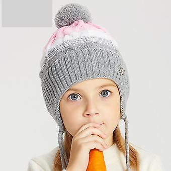 Winter Knit Hats Real Fur Fox Pompom Grils Babies Wool Bonnets Warm Cute