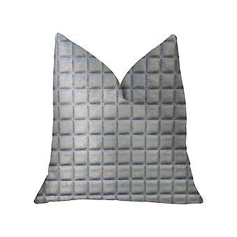 """Cuscino da lancio di lusso in pelle artificiale argento Plutus Silverton - Doppio lato 26"""" X 26"""""""