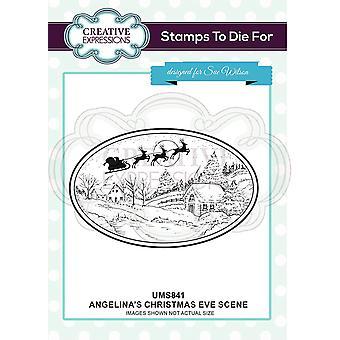 Creatieve uitdrukkingen Angelina's kerstavond scène pre cut stempel co-ords met CED3148