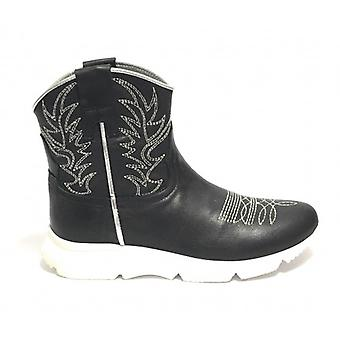Shoes Women's Life Ankle Boot Texan Fund Running Black Calf/ Silver Ds19li05