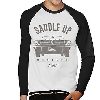 Ford Mustang ensillar la camiseta de manga larga de béisbol de los hombres