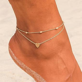 Simple Heart Female Anklets Barefoot Crochet, Sandals Foot Jewelry Leg,