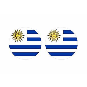 2x stick sticker round cockroach flag uruguay
