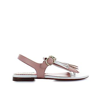 Santoni Bicolored Fringe Thong Sandal