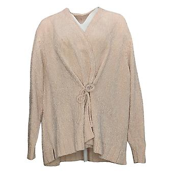 Anybody Women's Sweater Plus Chenille Tie-Front Cardigan Pink A372139