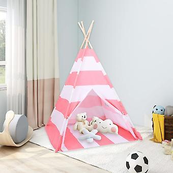 vidaXL Lasten Tipi teltta laukku persikka iho raidallinen 120x120x150 cm