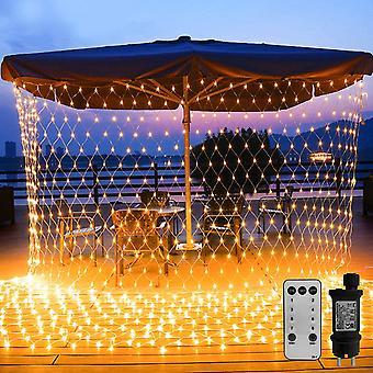 FengChun 200 LED Lichternetz 3 x 2 m warmwei Lichterkette Netz mit Fernbedienung Trafo Timer 8 Modi
