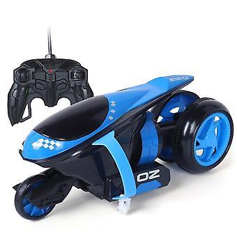 Coches de control remoto Thunder Drift Moto Bounce Stunt Toys Regalo para niños Navidad (Azul)