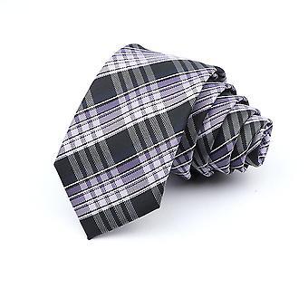 6cm Casual Skinny Ties Fashion Polyester Plaid Strip Necktie