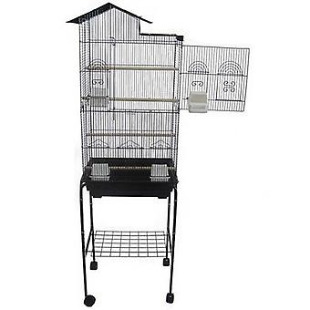 """6894 3/8"""" Bar Spacingtall Villa Top Small Bird Cage With Stand - 18""""X14"""" In Black"""