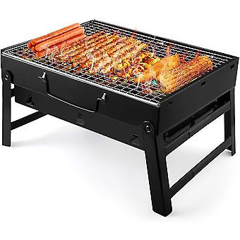 Barbecue Grill Portable Folding Charcoal Barbecue Desk Tabletop Outdoor Stainless Steel Smoker BBQ
