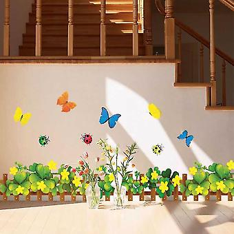 2pcs Yellow Flowers Butterfly Fence Skirting Line Wall Stickers Living Room Corridors Decoration