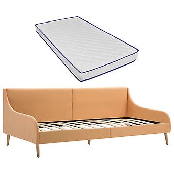 vidaXL day bed frame with memory foam mattress orange fabric