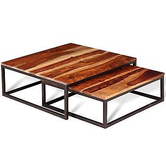 vidaXL שני חלקים להגדיר שולחן קפה עץ מלא