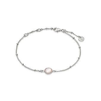 Daisy Rose Quartz Healing Stone Bobble Silver Bracelet HBR1005_SLV