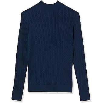 Essentials Damen Classic-fit Leichtes Kabel Langarm Mockneck Pullover