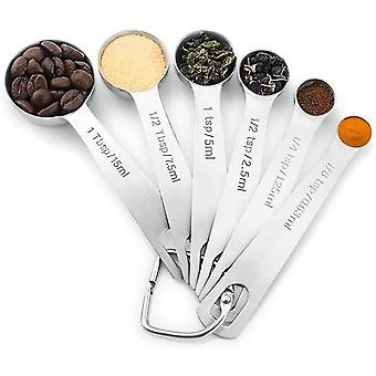 Stainless Steel Measuring Spoons  Set Of 6 For Measuring Dry And Liquid Ingredients