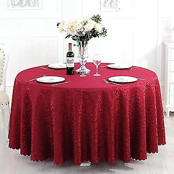 1.8m Polyester jacquard decorative round cover tablecloth printing home decoration tablecloth(Red)