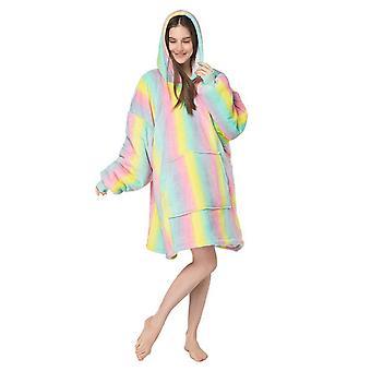 Homemiyn Femei Macaron Hooded Robe Nightgowns Casual Loose Pocket Cămăși de noapte