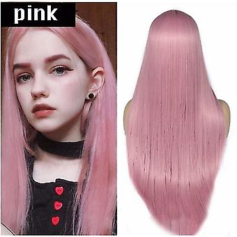Split Scalp Pink Long Straight Hair Chemical Fiber Wig Headgear(Pink)