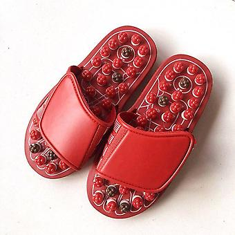 Men And Women Massage Shoes 82 Acupuncture Points Foot Massage Slippers Home Couple Sandals And Slippers - Red Petals