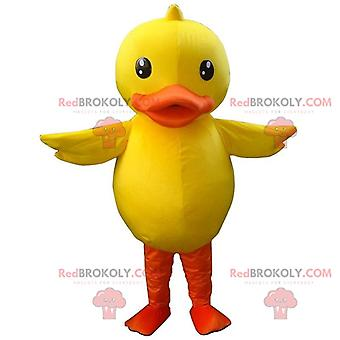 Maskotti REDBROKOLY.COM suuri keltainen ja oranssi ankka, canary disguise