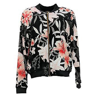 IMAN Global Chic Women's Reversible Stretch Knit Bomber Jacket Black 741400