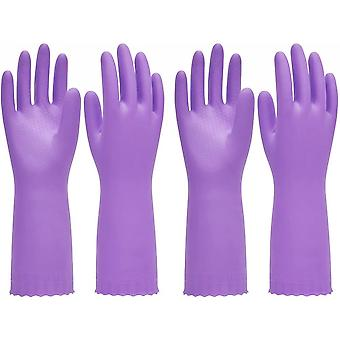 Ppe 2 Pairs Reusable Dishwashing Cleaning Gloves With Latex Free Cotton Lining