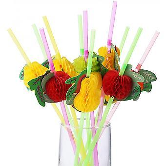 50 Pcs Umbrella And Fruit Parasol Drinking Straws,cocktail Decorations