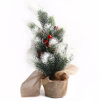 Evago 38cm bordplate kunstig jule furutre med lin klut, perfekt innendørs xmas dekorasjon for hjem og kontor