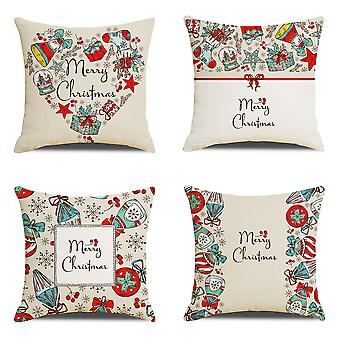 4 Housse d'oreiller de Noël En coton Linge d'oreiller décoratif 45cm