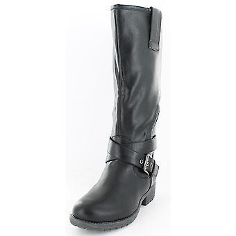Ladies Spot On Asymmetric Zip Biker Style Boots Black Size 8